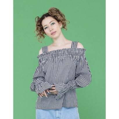 little sunny bite CHECKERED OFF SHOULDER BLOUSE