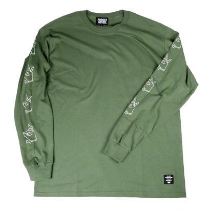 TIE BREAK SLEEVE PRINT - L/S T-Shirt  【 Green Tea 】