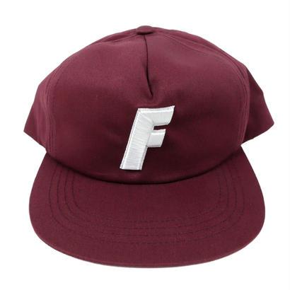 ''F'' LOGO 5 Panel Twill CAP 【 MAROON 】