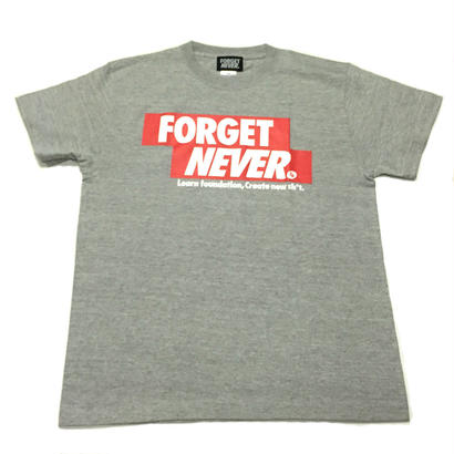 FORGET NEVER RED BOXLOGO T-SHIRT 【GREY】