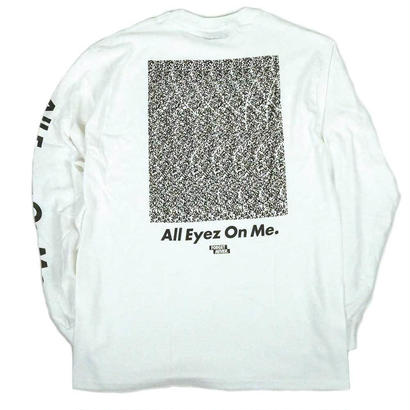 """ALL EYEZ ON ME"" L/S T-SHIRT ( White / Black )"
