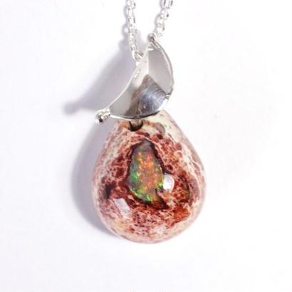 お月さま☆天然カンテラ(メキシコ)オパールSV925pendant原石から磨きました