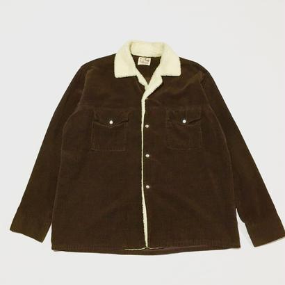50〜60's ビンテージ コーデュロイ シャツ ボア付き 太畝 ブラウン