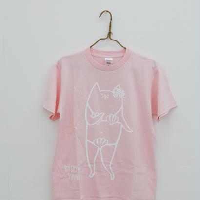 甑島ネコTシャツ 女の子バージョン ライトピンク