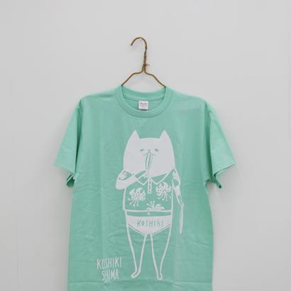 甑島ネコTシャツ 男の子バージョン アイスグリーン/チャコールグレー