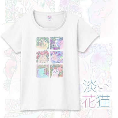 メンズ・レディース・キッズサイズ有★淡い花猫 Tシャツ