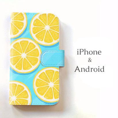 【送料無料】水の上のレモン 手帳型スマホケース