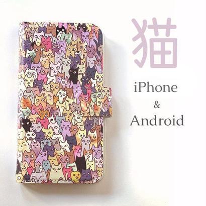 【送料無料】にゃんこ大集合 手帳型スマホケース