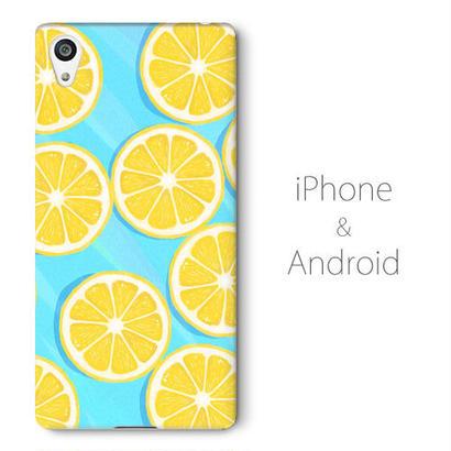 【送料無料】水の上のレモン スマホケース(ハードケース全面プリント)