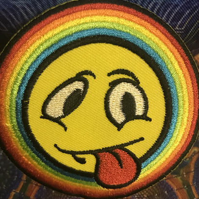 Yellow smiley and tongue iron on patch