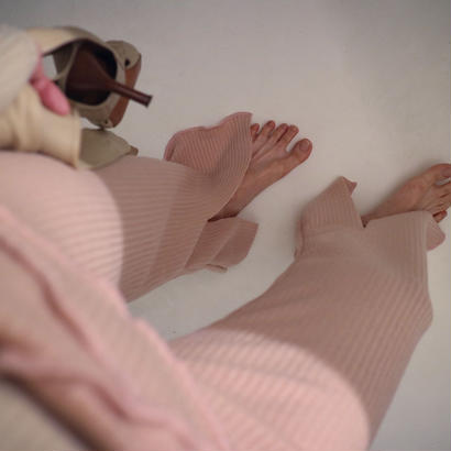 Knit slit pants  pink