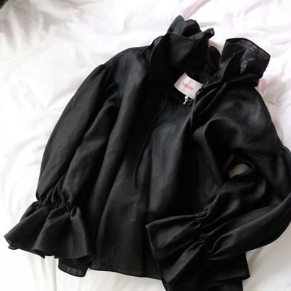 """""""siiilon"""" frill blouse  black"""