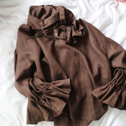 """siiilon"" frill blouse brown"