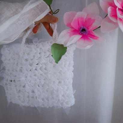 Knitted silk organza tote white 『ciansumi』
