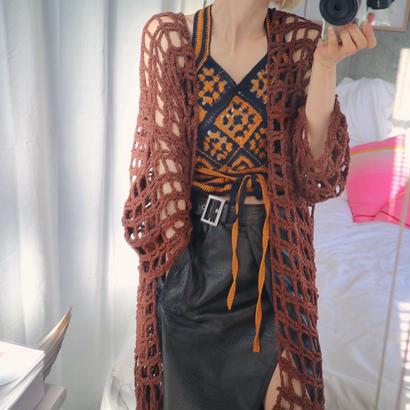 Tape Yarn Long Gown  brown