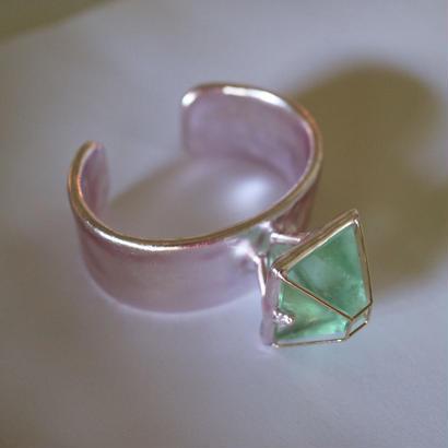 """""""imago """"  aluminium &silver leaf  bangle"""