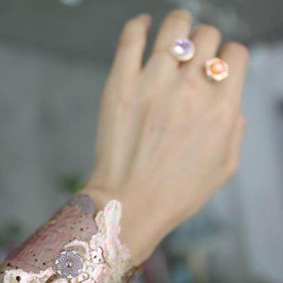 Large bracelets antique,vintage and new textile [light pink]