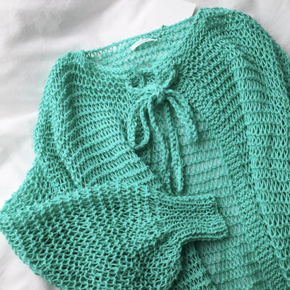 Net Knit Coat   Mint