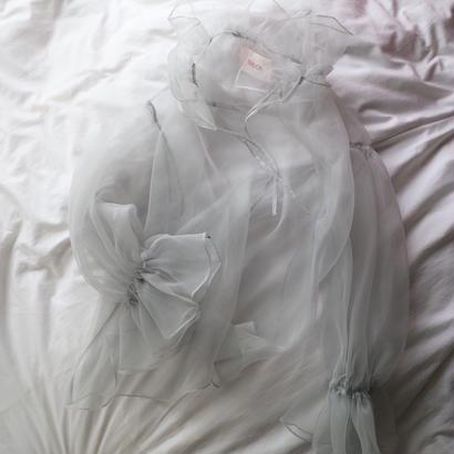 """""""siiilon"""" frill blouse ice gray"""