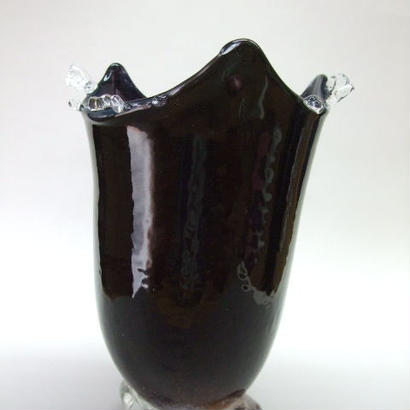 宙吹きパウダー被せ台つき花瓶