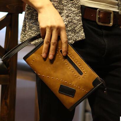 メンズバッグ シンプルクラッチハンドバッグ 全2色 新品