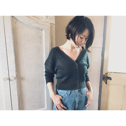 DOMENIICO+SAVIO 「GLOSS MIX MOHAIR 2WAY cardigan」 charcoal×moss green