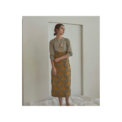 TAN. 「FLOWER MOTIF SKIRT」mustard