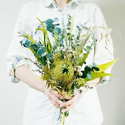 『葉っぱがメインの花束 ブーケ green 002 』プリザーブドフラワーだから緑を長く楽しめる!
