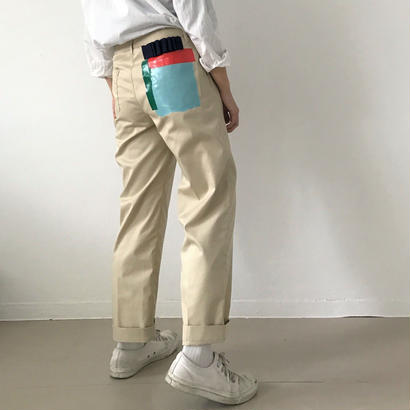 【zaziquo】ポケットプリントセンタープレスパンツ(ベージュ)