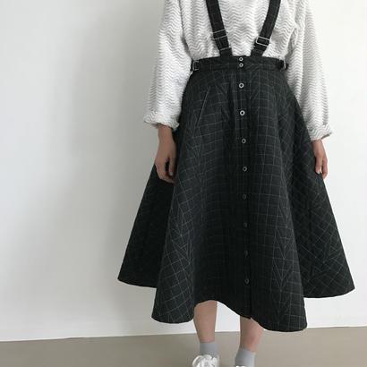 【sneeuw】キルティングジャンパースカート (ブラック)