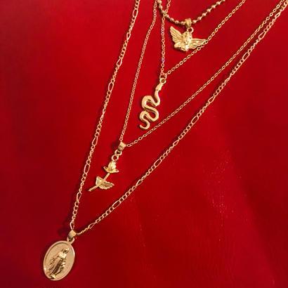 Vintage gold medai angel rose choker