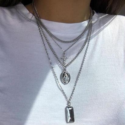 Silver medai cross choker