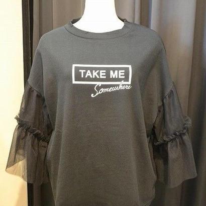 チュールスリーブTシャツ