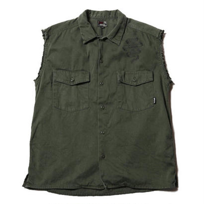 CUT RATE CUT OFF BAKER SHIRT OLIVE CR-17SS072