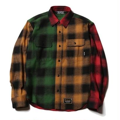 CUTRATE  L/S CRAZY PATTERN CHECK SHIRT YELLOW&GREEN  CR-17SS016