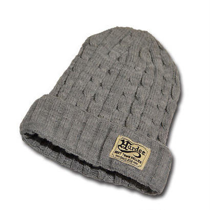HARDEE CABLE KNIT CAP GRAY