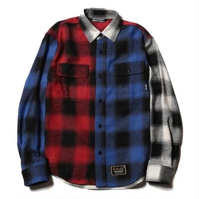 CUTRATE  L/S CRAZY PATTERN CHECK SHIRT BLUE&RED  CR-17SS016