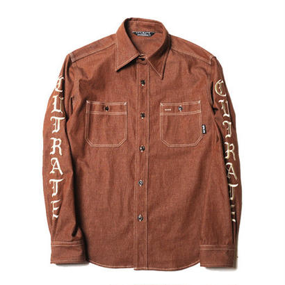 CUT RATE  L/S DENIM SHIRT BROWN CR-17AW028  のコピー
