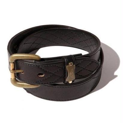 CUT RATE QUILT STITCH LEATHER BELT BLACK CR-16ST071