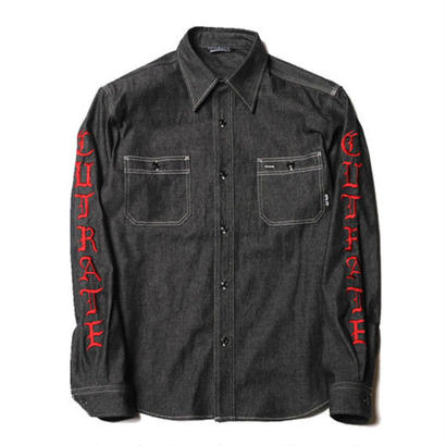 CUT RATE L/S DENIM SHIRT BLACK CR-17AW028