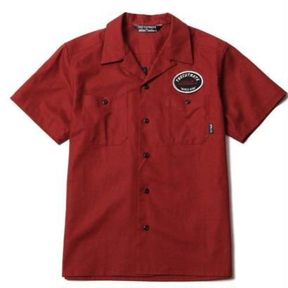 CUTRATE S/S EMBROIDERY WORK SHIRT BURGUNDY CR-16S051