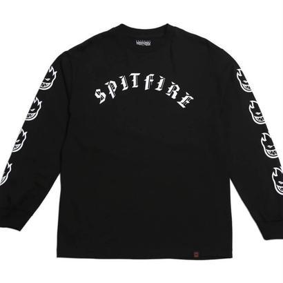 SPITFIRE OLD E L/S TEE  BLACK / WHITE