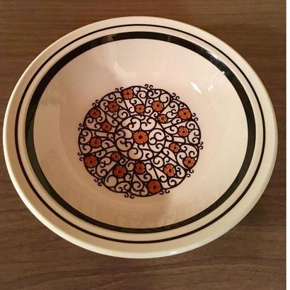 レトロ NIKKO製 花柄イラスト 大きめのスープ皿 パスタにも
