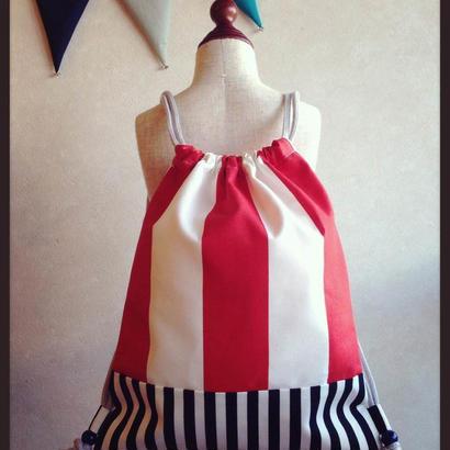 kidsナップサック/red&monochrome stripe