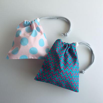 コップ袋2枚セット/ピンクドット × ギザギザ