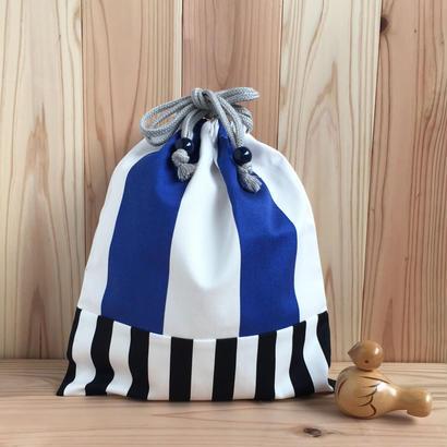■ 北欧柄 ■ツイル地タイプ  /体操着袋/ Blue & Black