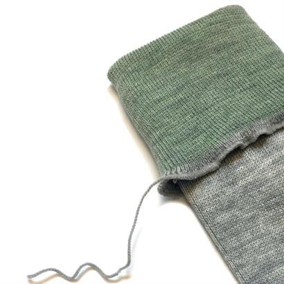 ヒムカシ靴下 / 毛靴下(セミロング丈) トップライトグレー(ライムグリーン)