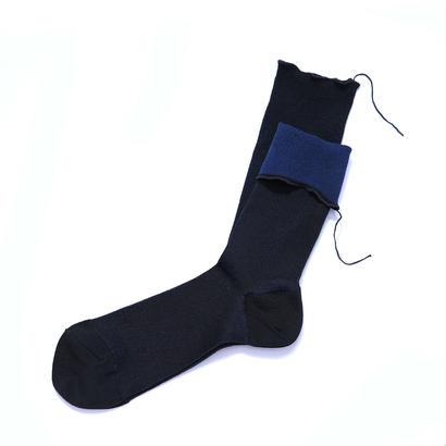 ヒムカシ靴下  / 綿靴下 ブラック(ブルー) * Free size ( 23-27cm )