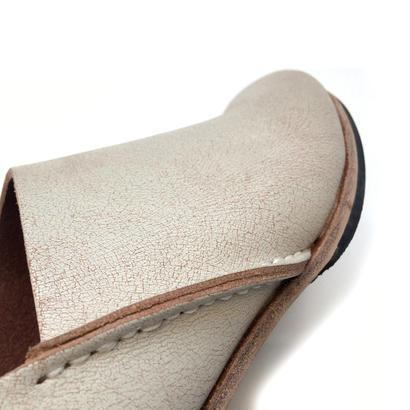 ヒムカシ製靴 / アルメニアスリッポン ペイントホワイト/ヌメ