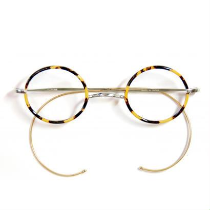 ヒムカシ眼鏡 / 鼈甲色セル輪巻十八金鍍金縄手眼鏡・プカプカ